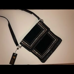 Black leather and suede silver studded purse